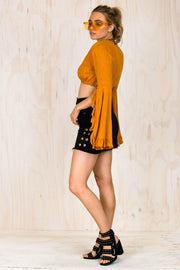 Abby Orange Flare Crop-TOPS-BAMBI
