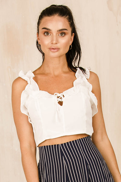 Heritage Crop Top - White