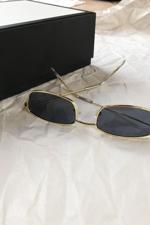 ACCESSORIES - Black/Gold Who Are You Sunglasses