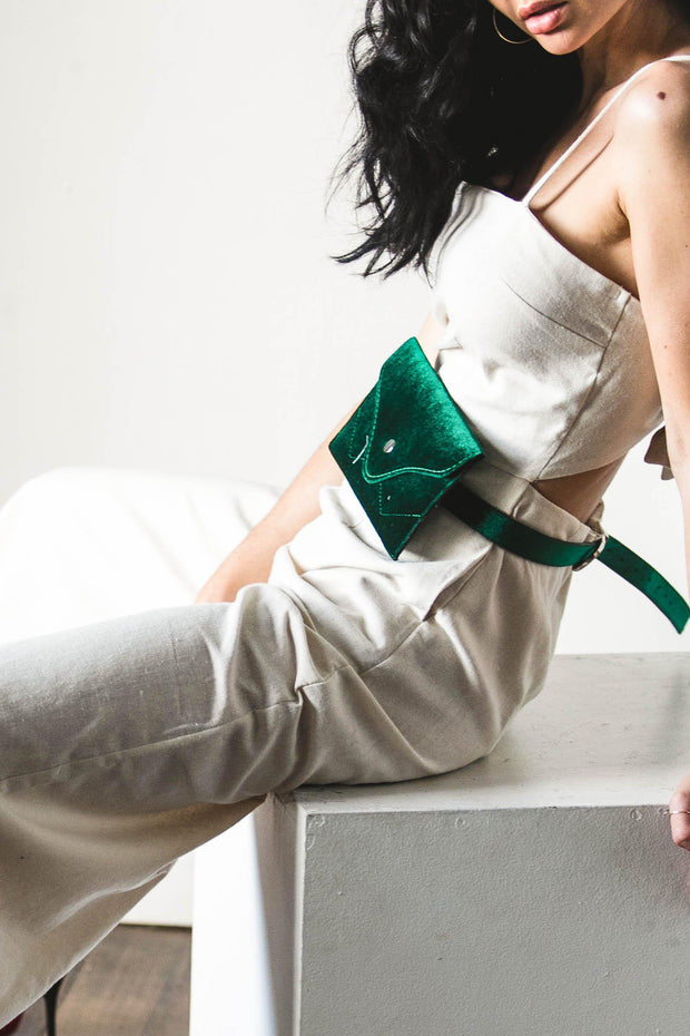 ACCESSORIES - Wild Side Velvet Belt Bag Emerald