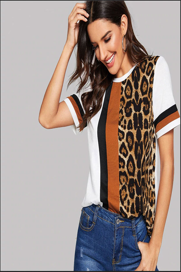 Go Girl Round Leopard Printed Tee - White