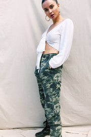 BOTTOMS - Celine Camo Trackpants - Green (FINAL SALE)