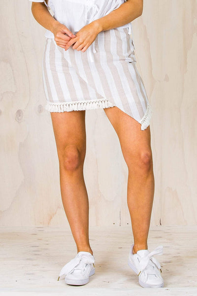 BOTTOMS - Cream Asymetrical Tassle Skirt (FINAL SALE)
