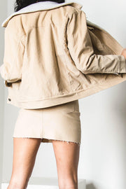 BOTTOMS - Georgia Cord Skirt - Beige