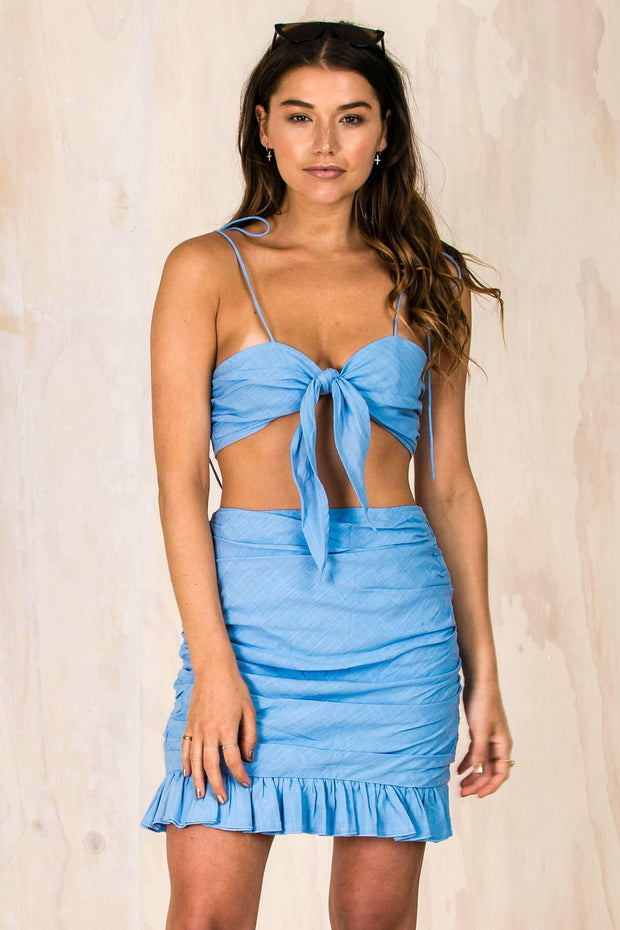 BOTTOMS - Lulu Rushed Ruffle Skirt - Blue (FINAL SALE)