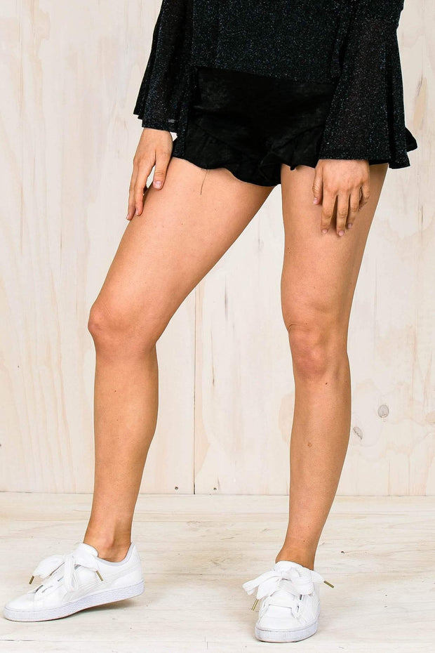 BOTTOMS - Marley Black Flutter Shorts - Black (FINAL SALE)