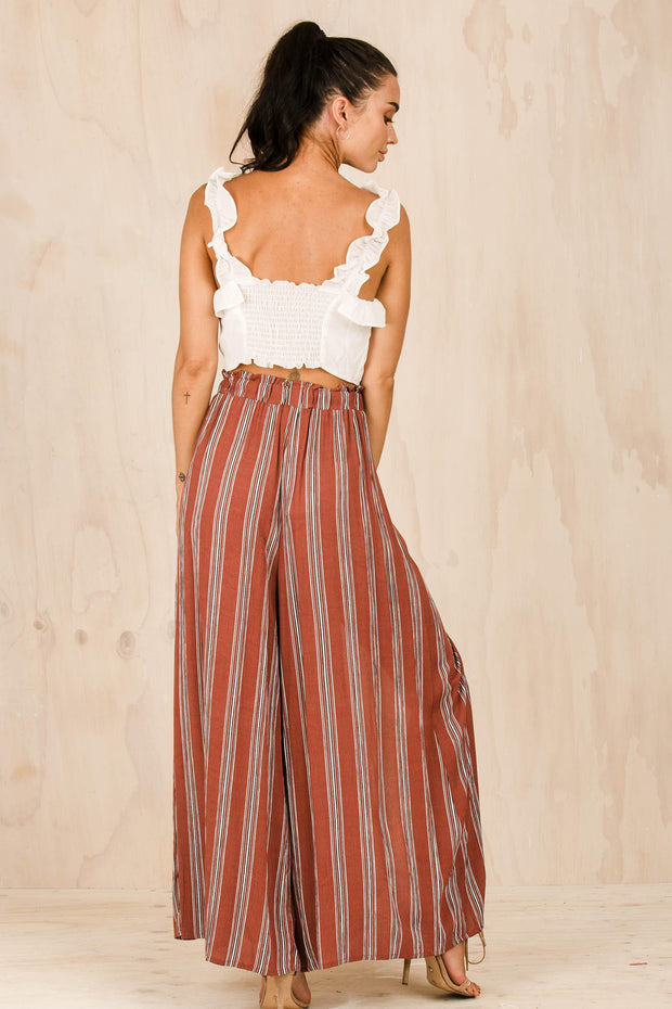 BOTTOMS - Red Simplee Stripes Pants