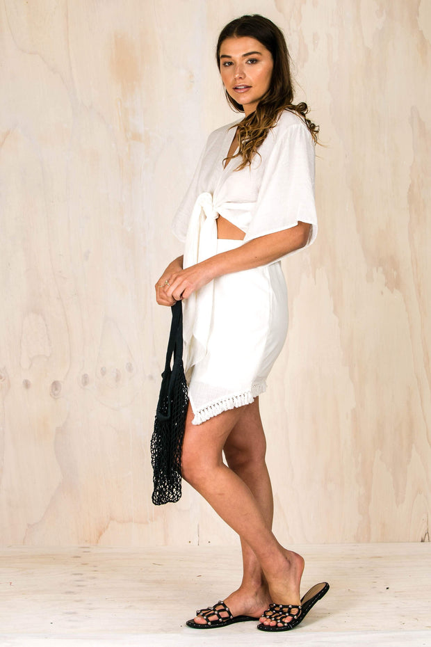 BOTTOMS - White Asymetrical Tassle Skirt