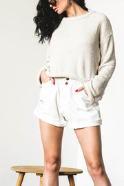 BOTTOMS - Yelena White Denim Shorts