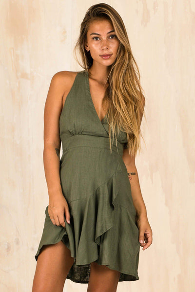 DRESSES - Green Munroe Frill Wrap Dress (FINAL SALE)