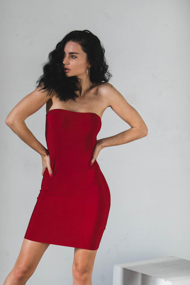 DRESSES - Normani Red Strapless Dress