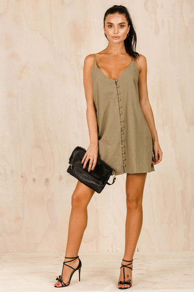 DRESSES - Step Aside Khaki Dress