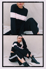 OUTERWEAR - Stephanie Striped Crop Jumper - Black/Pink