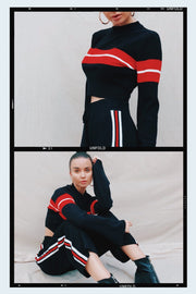 OUTERWEAR - Stephanie Striped Crop Jumper - Black/Red