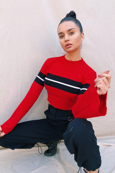 OUTERWEAR - Stephanie Striped Crop Jumper - Red/Black