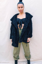 OUTERWEAR - Teddy Fluffy Coat - Black (FINAL SALE)