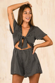 PLAYSUITS + JUMPSUITS - Aleyna Spotty Black Playsuit (FINAL SALE)