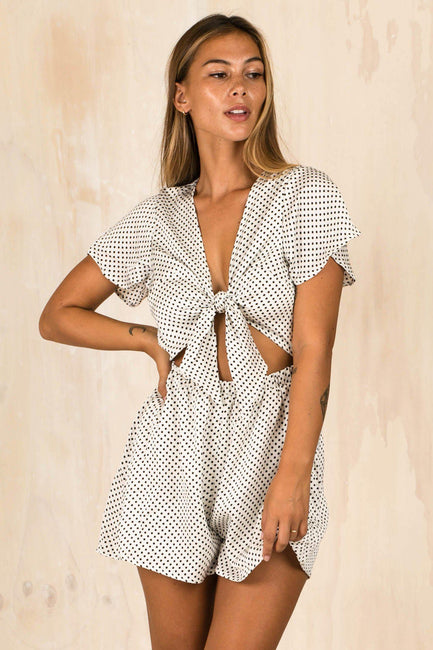 5a20ce469c1 Aleyna Spotty White Playsuit (FINAL SALE)