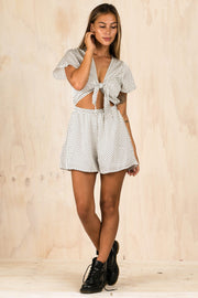 PLAYSUITS + JUMPSUITS - Aleyna Spotty White Playsuit (FINAL SALE)