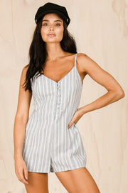 PLAYSUITS + JUMPSUITS - Beachday Blue Button Up Playsuit (FINAL SALE)