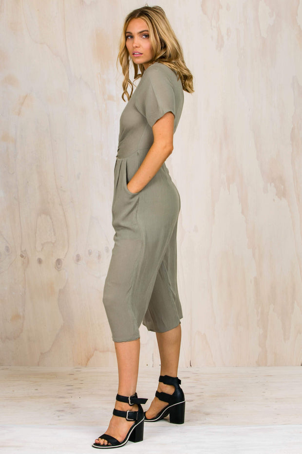PLAYSUITS + JUMPSUITS - Green Daniella 3/4 Jumpsuit (FINAL SALE)