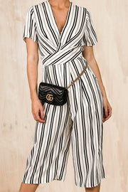 PLAYSUITS + JUMPSUITS - Halsey Stripe 3/4 Jumpsuit (FINAL SALE)
