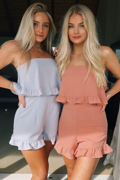 PLAYSUITS + JUMPSUITS - Harley Strapless Playsuit - Peach (FINAL SALE)