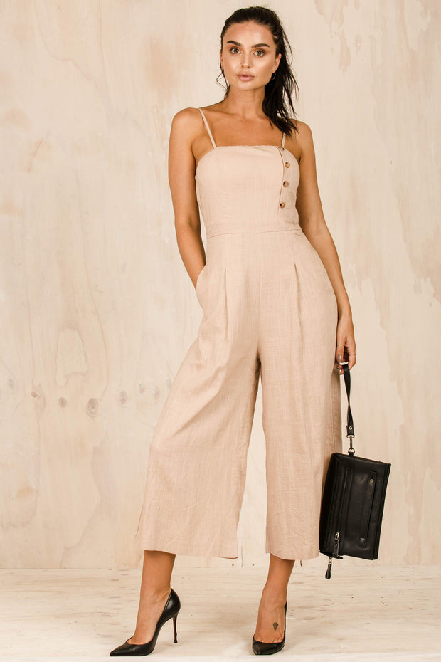 PLAYSUITS + JUMPSUITS - Haven't Been Caught Tan Jumpsuit (FINAL SALE)