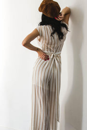 PLAYSUITS + JUMPSUITS - Helda Stripe Jumpsuit - Nude (FINAL SALE)