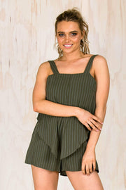 PLAYSUITS + JUMPSUITS - Helena Khaki Playsuit (FINAL SALE)