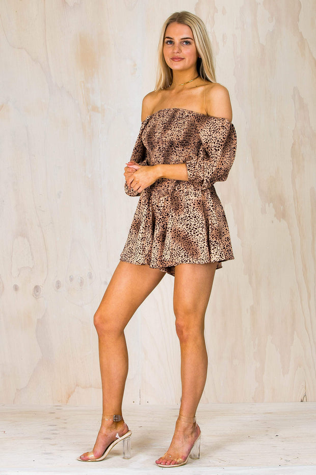PLAYSUITS + JUMPSUITS - Leopard Bubble Sleeve Playsuit (FINAL SALE)
