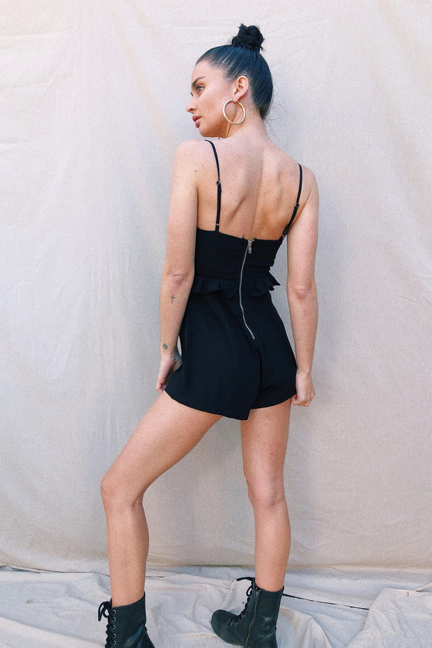 PLAYSUITS + JUMPSUITS - Lily Tie Playsuit - Black (FINAL SALE)
