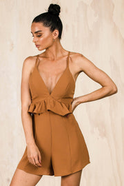 Paris Frill Playsuit - Mocha (FINAL SALE)