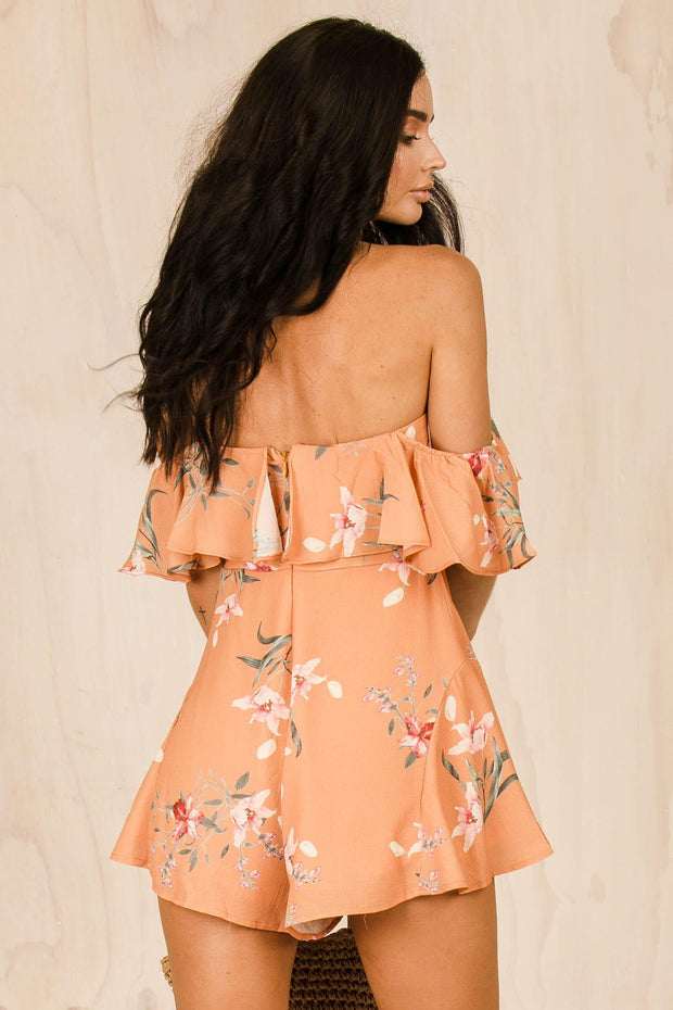 PLAYSUITS + JUMPSUITS - Peachy Floral Playsuit (FINAL SALE)