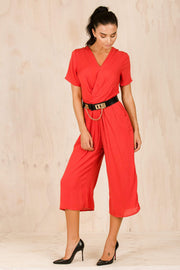 PLAYSUITS + JUMPSUITS - Red Daniella 3/4 Jumpsuit
