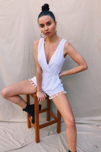 PLAYSUITS + JUMPSUITS - V-Neck Tassle Edge Playsuit - White (FINAL SALE)