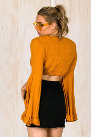 TOPS - Abby Orange Flare Crop (FINAL SALE)