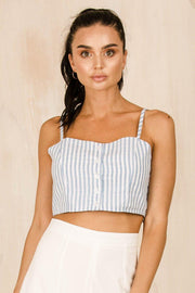 TOPS - Baby Blue Button Up Crop (FINAL SALE)