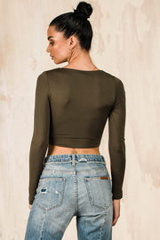 TOPS - Bailee Wrap Top - Khaki (FINAL SALE)