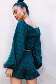 TOPS - Honey Honey Tie Up Top - Green Plaid