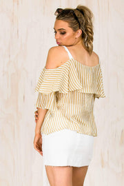 TOPS - Nola Mustard Stripe Top (FINAL SALE)
