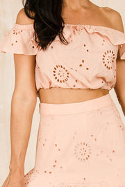 TOPS - Not Your Baby Off The Shoulder Crop - Pink (FINAL SALE)