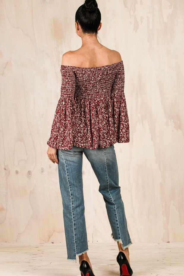 TOPS - Paisley Off Shoulder Flare Top (FINAL SALE)