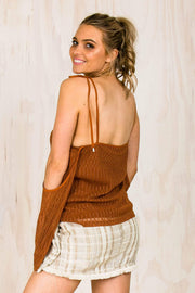 TOPS - Rust Cut Out Shoulder Top