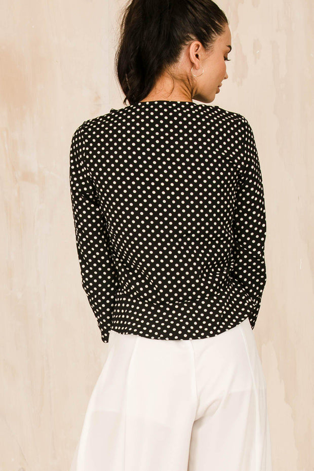 TOPS - Spotty Lady Blouse Black