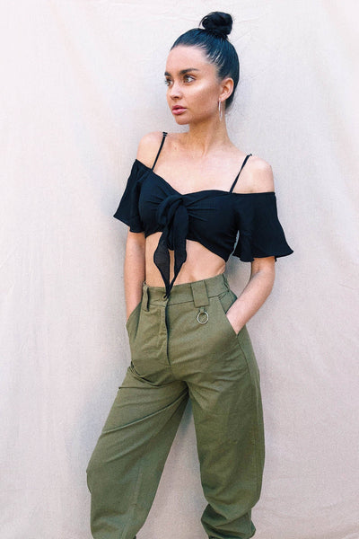 TOPS - Summer Frill Crop - Black