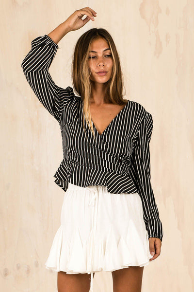TOPS - Talulah Stripe Cross Over Top - Black