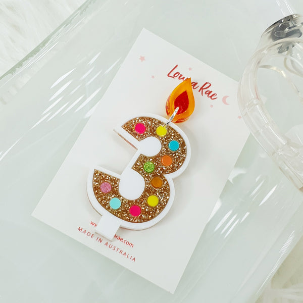Number Candle Dangle Earring - 3