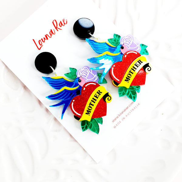 Love Tattoo Dangle Earrings - 001