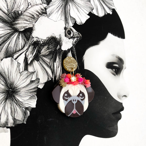 Pug Dangle Earrings